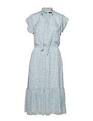 Tie-Neck Print Georgette Dress - ENGLISH BLUE MULT