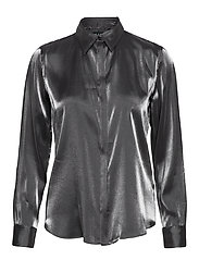 SHIMMER SATIN-SHIRT - BLACK/GUNMETAL
