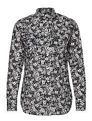 Floral Cotton Voile Shirt - LAUREN NAVY/CREAM
