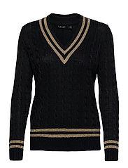 Metallic Cricket Sweater - LAUREN NAVY/GOLD