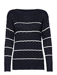Striped Cable Sweater - LAUREN NAVY/SILVE