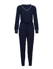 Belted Long-Sleeve Jumpsuit - LAUREN NAVY