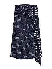 STRETCH POLY JRSY-SKIRT - LAUREN NAVY/PALE