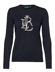 Beaded-Logo Cotton Sweater - LAUREN NAVY