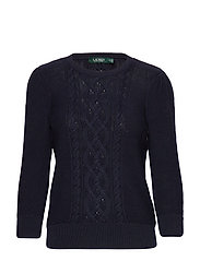 Puff-Sleeve Cable Sweater - LAUREN NAVY