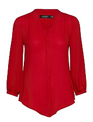 Pleated Georgette Top - LIPSTICK RED