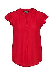 Georgette Flutter-Sleeve Top - ORIENT RED
