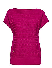 Cable-Knit Boatneck Sweater - BRIGHT FUCHSIA