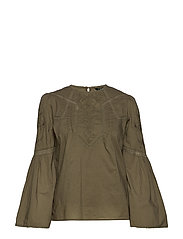 Embroidered Bell-Sleeve Top - DRY OLIVE