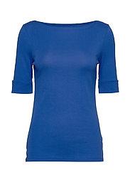 Cotton-Blend Boatneck Top - BLUE GLACIER