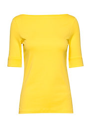 Cotton-Blend Boatneck Top - HAMPTON YELLOW