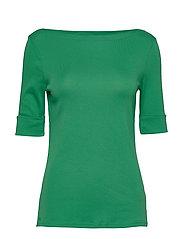 Cotton-Blend Boatneck Top - HEDGE GREEN