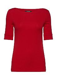 Cotton-Blend Boatneck Top - ORIENT RED