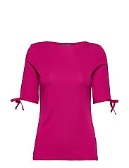 Cotton-Blend Boatneck Top - BRIGHT FUCHSIA