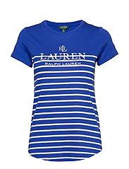 Striped Logo Tee - BLUE GLACIER