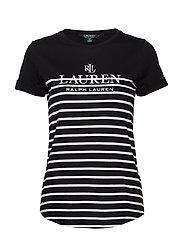 Striped Logo Tee - POLO BLACK