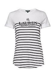 Striped Logo Tee - WHITE