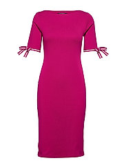 Cotton Boatneck Dress - BRIGHT FUCHSIA