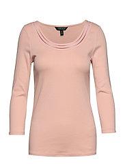 Cotton Elbow-Sleeve Top - PINK HYDRANGEA