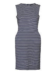Button-Trim Ponte Dress - LAUREN NAVY/PALE