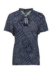 Print Linen-Blend Tie-Neck Top - DK BLUE MULTI