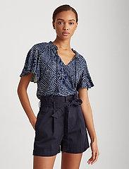 Lauren Ralph Lauren - Print Linen-Blend Tie-Neck Top - kortermede bluser - dk blue multi - 0