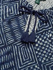 Lauren Ralph Lauren - Print Linen-Blend Tie-Neck Top - kortermede bluser - dk blue multi - 3