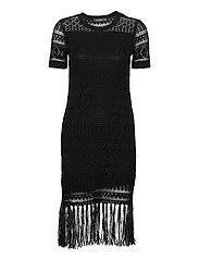 Pointelle Short-Sleeve Dress - POLO BLACK