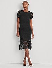 Lauren Ralph Lauren - Pointelle Short-Sleeve Dress - midi kjoler - polo black - 0