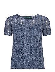 Cable-Knit Linen-Blend Sweater - INDIGO MARL
