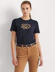 Lauren Ralph Lauren - UPTOWN COTTON MODAL-SSL-KNT - t-shirts - lauren navy - 0