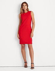 Lauren Ralph Lauren - Button-Trim Ponte Dress - midi kjoler - orient red - 0