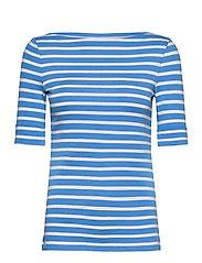 Striped Cotton-Blend Boatneck Top - CAPTAIN BLUE/WHIT