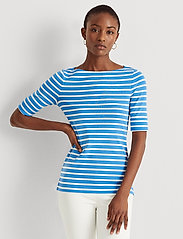 Lauren Ralph Lauren - Striped Cotton-Blend Boatneck Top - t-shirts - captain blue/whit - 0