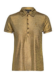 Metallic Jersey Polo Shirt - GOLD METAL