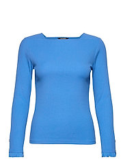 Ruffle-Trim Stretch Cotton Top - CAPTAIN BLUE