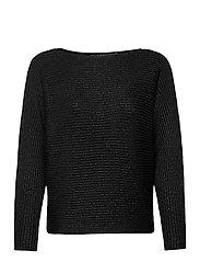 Dolman-Sleeve Boatneck Sweater - POLO BLACK LUREX