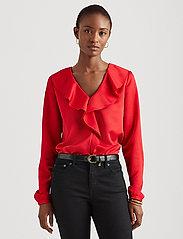 Lauren Ralph Lauren - Ruffle-Trim Sateen Top - blouses à manches longues - lipstick red - 0