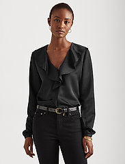 Lauren Ralph Lauren - Ruffle-Trim Sateen Top - blouses à manches longues - polo black - 0