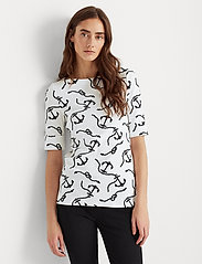 Lauren Ralph Lauren - Print Cotton-Blend Boatneck Top - kortærmede bluser - white/polo black - 0