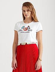 Lauren Ralph Lauren - Flag Logo Cotton-Modal Tee - t-shirts - white - 0