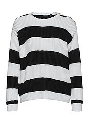 Striped Button-Trim Cotton Sweater - WHITE/POLO BLACK