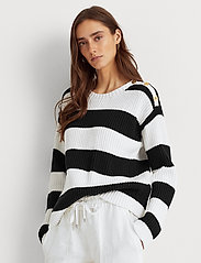 Lauren Ralph Lauren - Striped Button-Trim Cotton Sweater - trøjer - white/polo black - 0