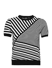Striped Patchwork Short-Sleeve Sweater - POLO BLACK/WHITE