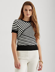 Lauren Ralph Lauren - Striped Patchwork Short-Sleeve Sweater - gebreide t-shirts - polo black/white - 0
