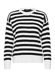 Striped Cotton-Modal Sweater - WHITE/POLO BLACK