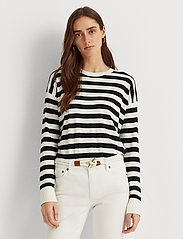 Lauren Ralph Lauren - Striped Cotton-Modal Sweater - trøjer - white/polo black - 0