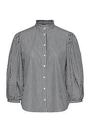 Striped Bishop-Sleeve Cotton Shirt - BLACK/WHITE