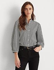 Lauren Ralph Lauren - Striped Bishop-Sleeve Cotton Shirt - langærmede bluser - black/white - 0