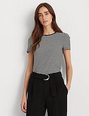 Lauren Ralph Lauren - Striped Cotton-Blend T-Shirt - t-shirts - white/polo black - 0